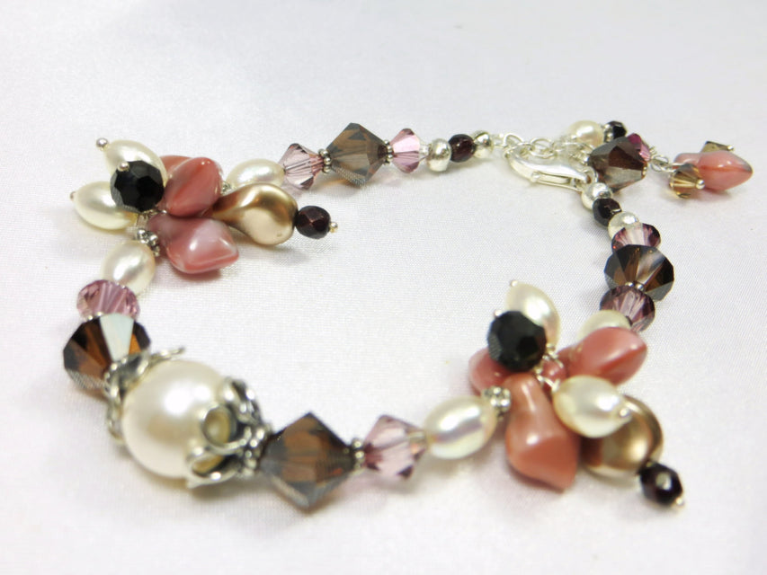 Mauve Pink Ivory and Brown Bracelet with Mookalite Stones, Freshwater Pearls, Swarovski and Czech Spades - all Sterling Silver - Odyssey Creations