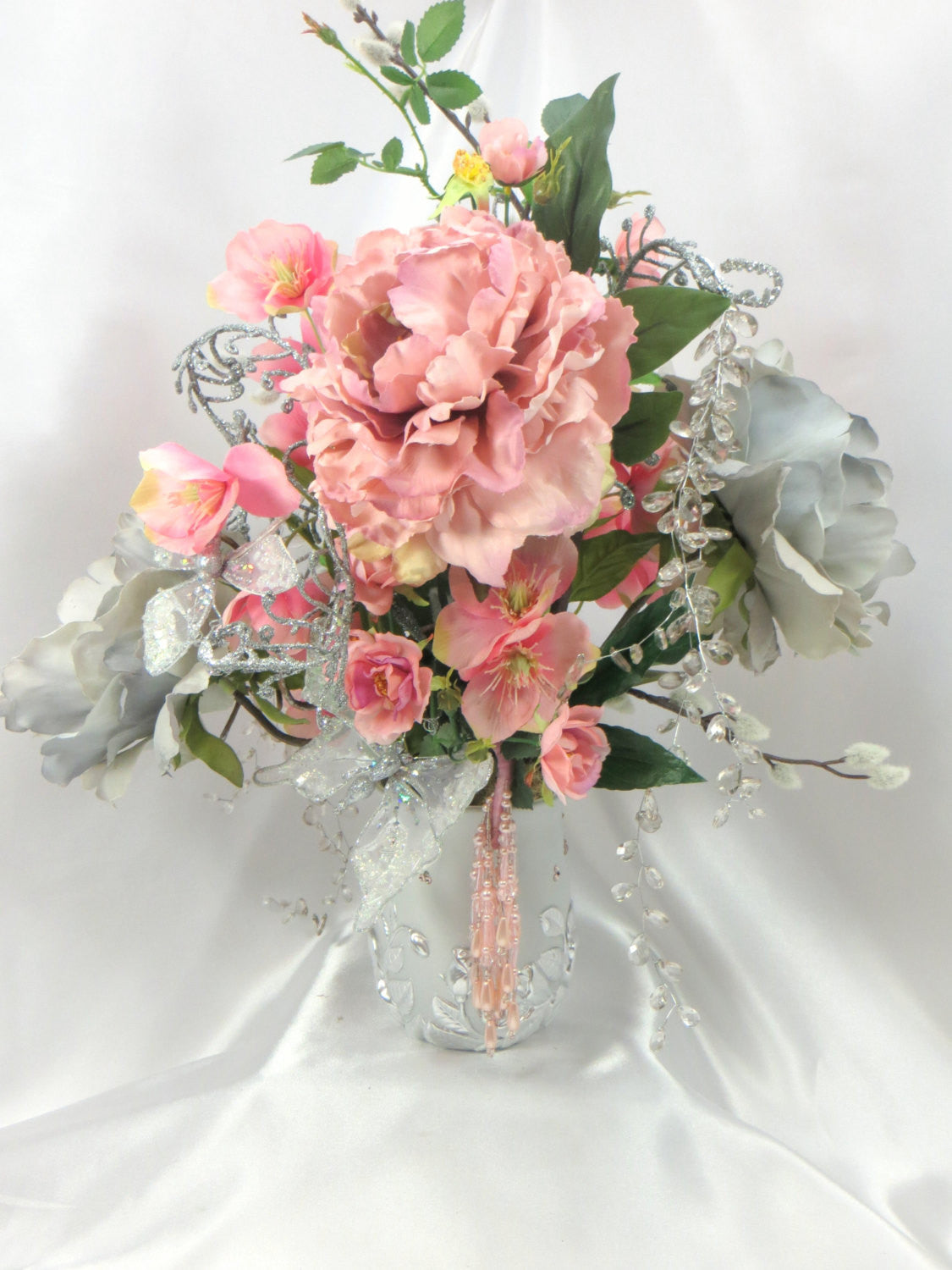 Pink and Gray Beaded Victorian Wedding Centerpiece Floral Arrangement - Odyssey Creations