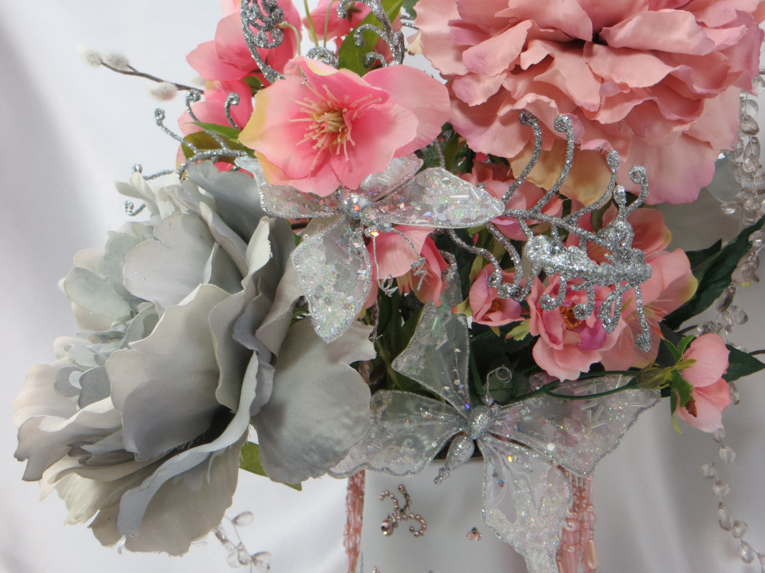 Pink and Gray Victorian Beaded Wedding Centerpiece Floral Arrangement for wedding or home decor with peonies, butterfly, wild roses & pearls - Odyssey Creations