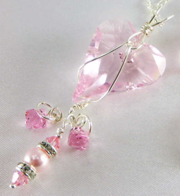 Pink Swarovski Wire Wrapped Wild Heart Necklace in Sterling Silver - Odyssey Creations