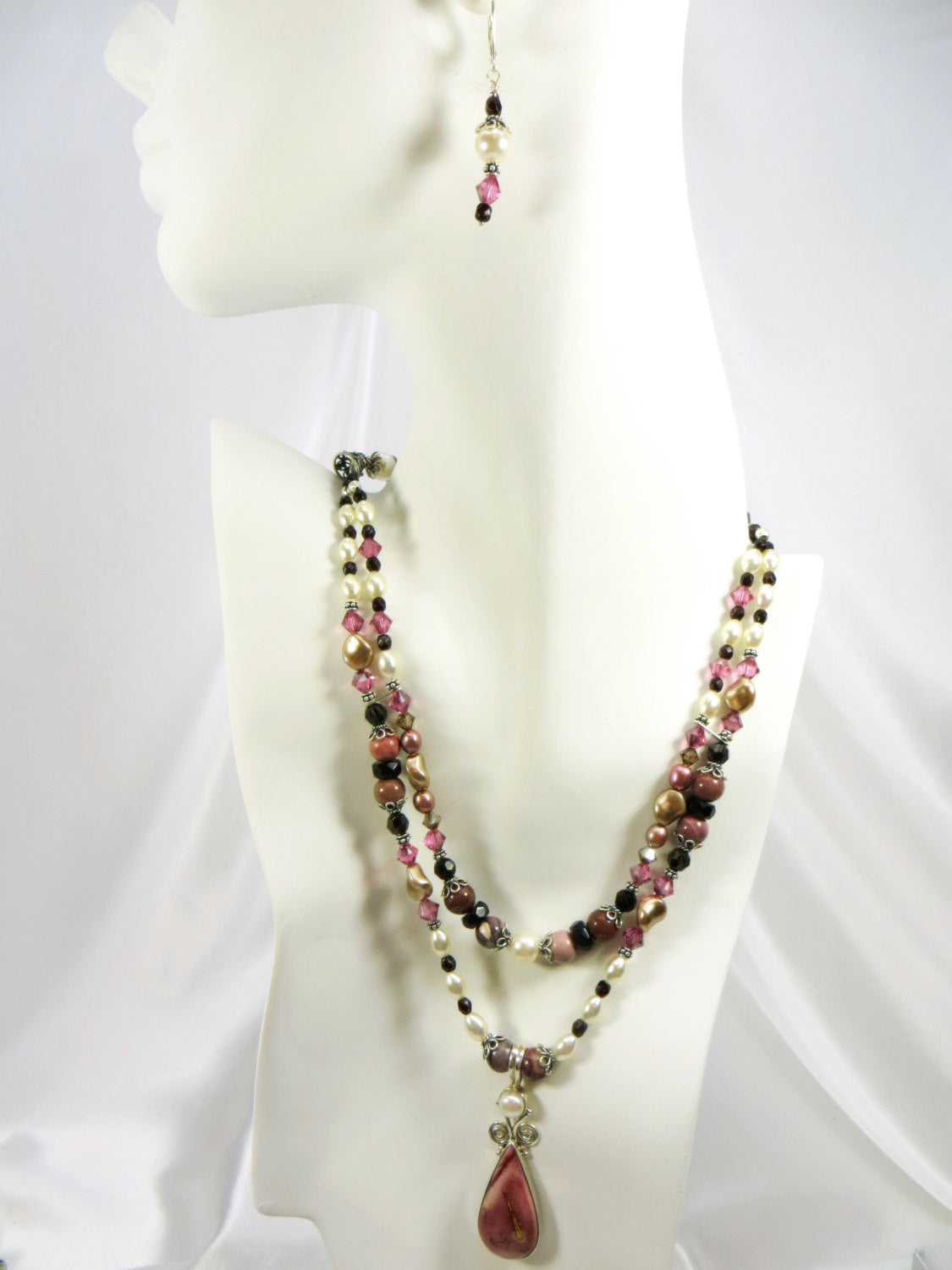 Necklace and Earring Set in Dusty Pink Rose Mookalite Stone, Freshwater Pearls and Swarovski all Sterling Silver - Odyssey Creations