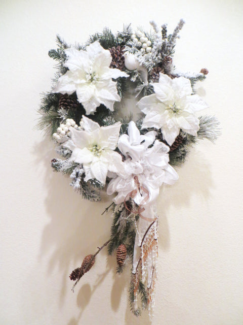 Colorado Inspired White Christmas Wreath with Snow, Branch, Pinecones and elaborate Victorian Pearl Beaded Fringe Beaded Bow - Ready to ship - Odyssey Creations