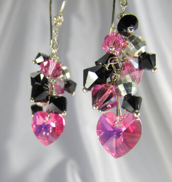 Swarovski Heart Earrings in Bright Hot Pink and Black on Sterling Silver - Odyssey Creations