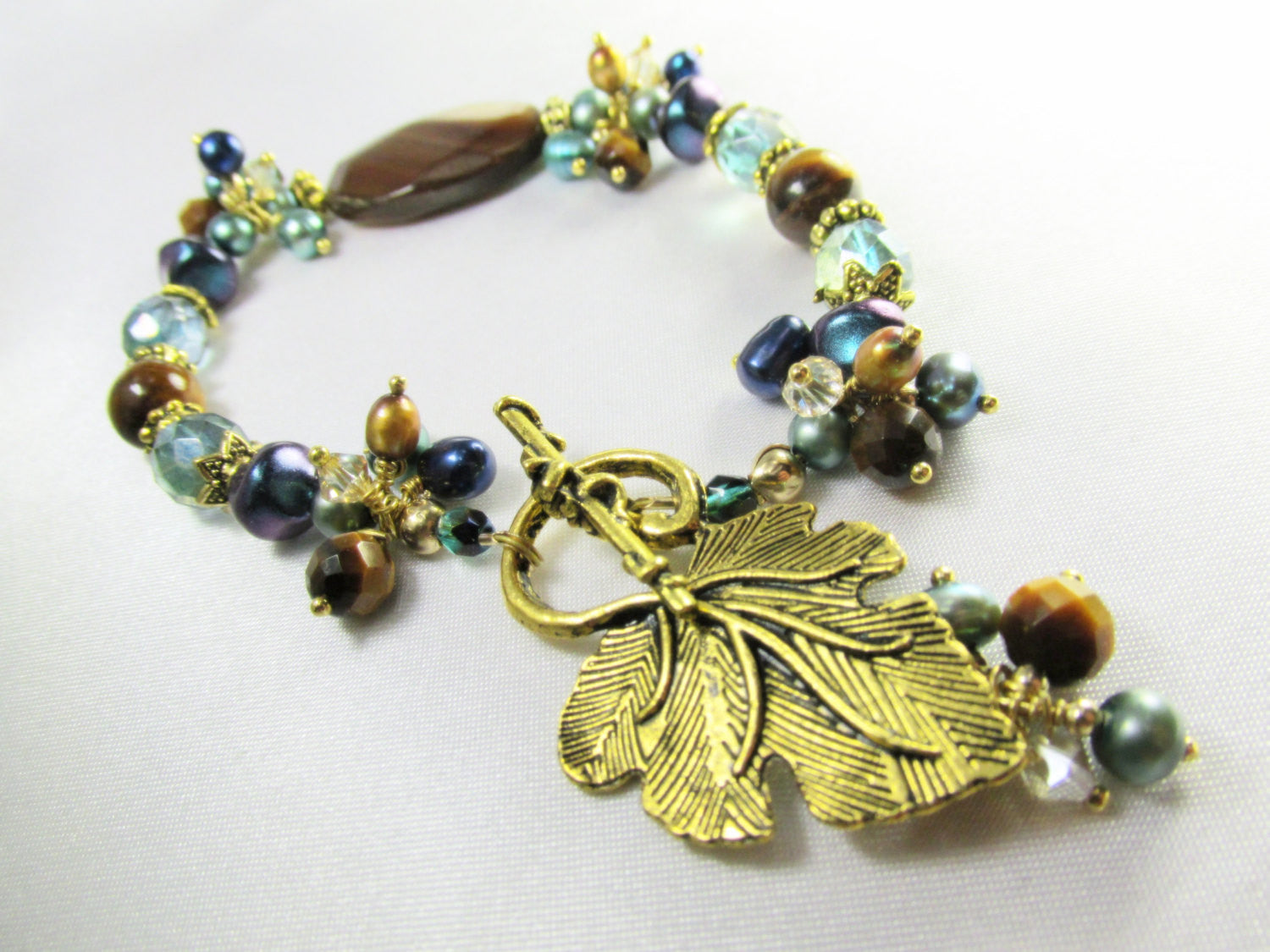 Peacock Freshwater Pearls in Aqua, Teal Blue and Gold with Brown Tigers Eye, Czech Glass - Odyssey Creations