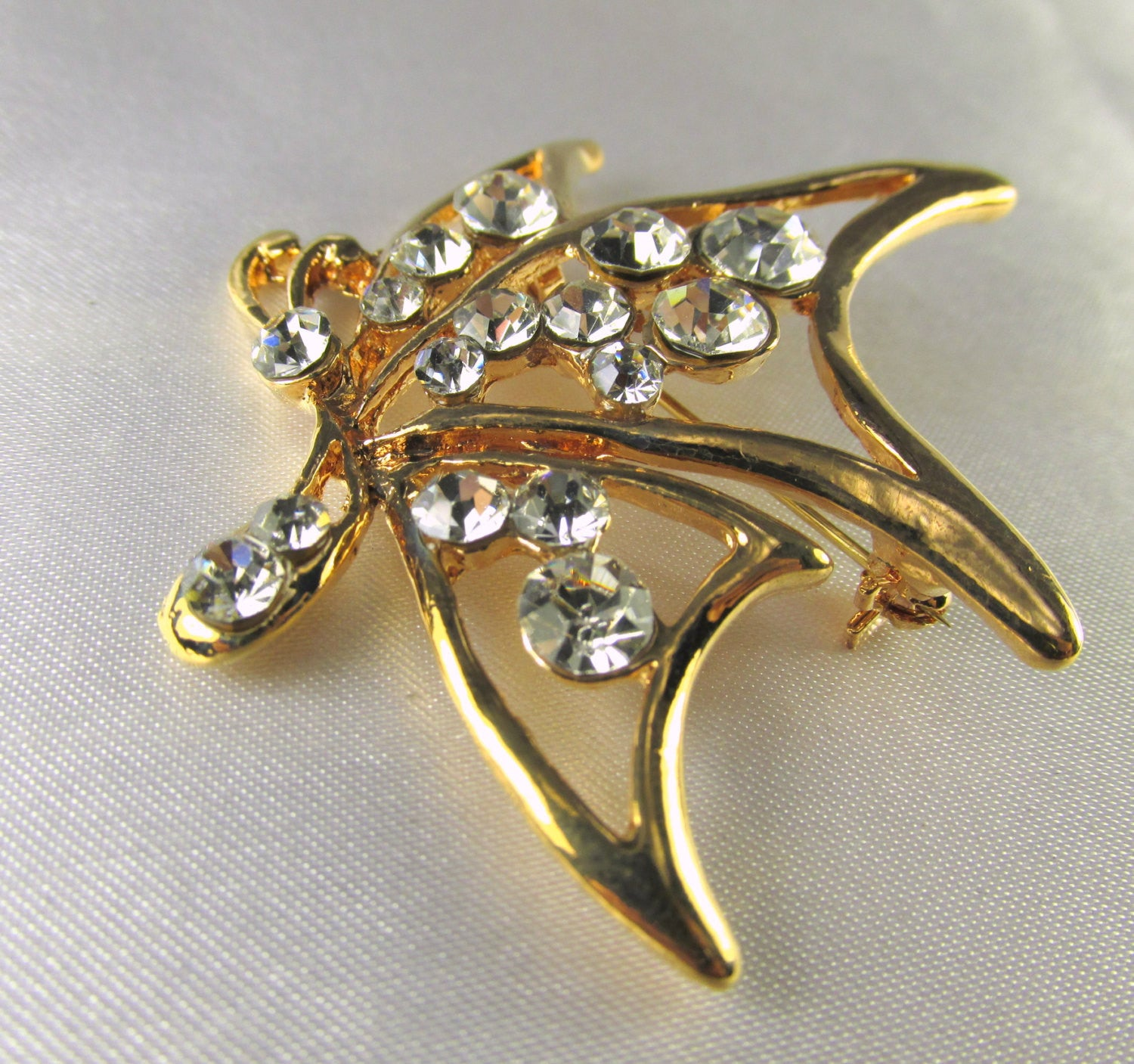 Gold Abstract Modern Butterfly Brooch - Odyssey Cache - 1