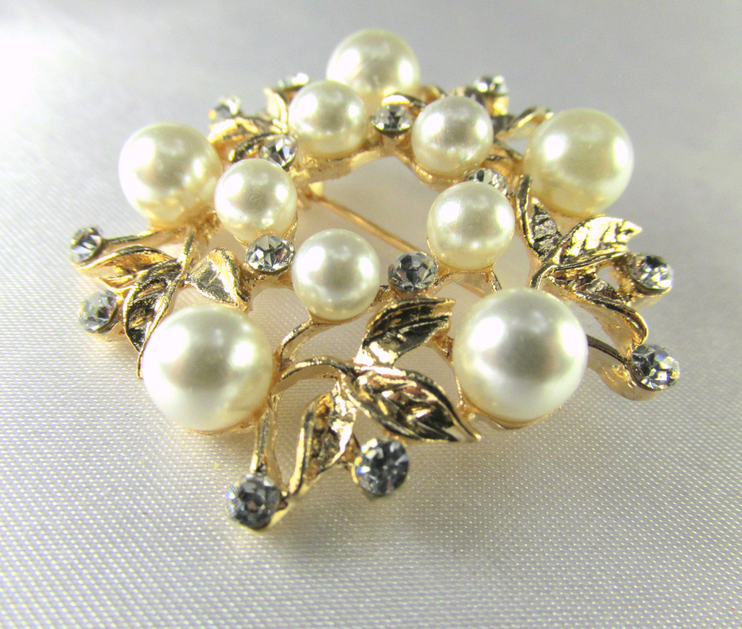 Rose Gold, White Pearl and Clear Crystal Flower Brooch - Odyssey Cache - 4