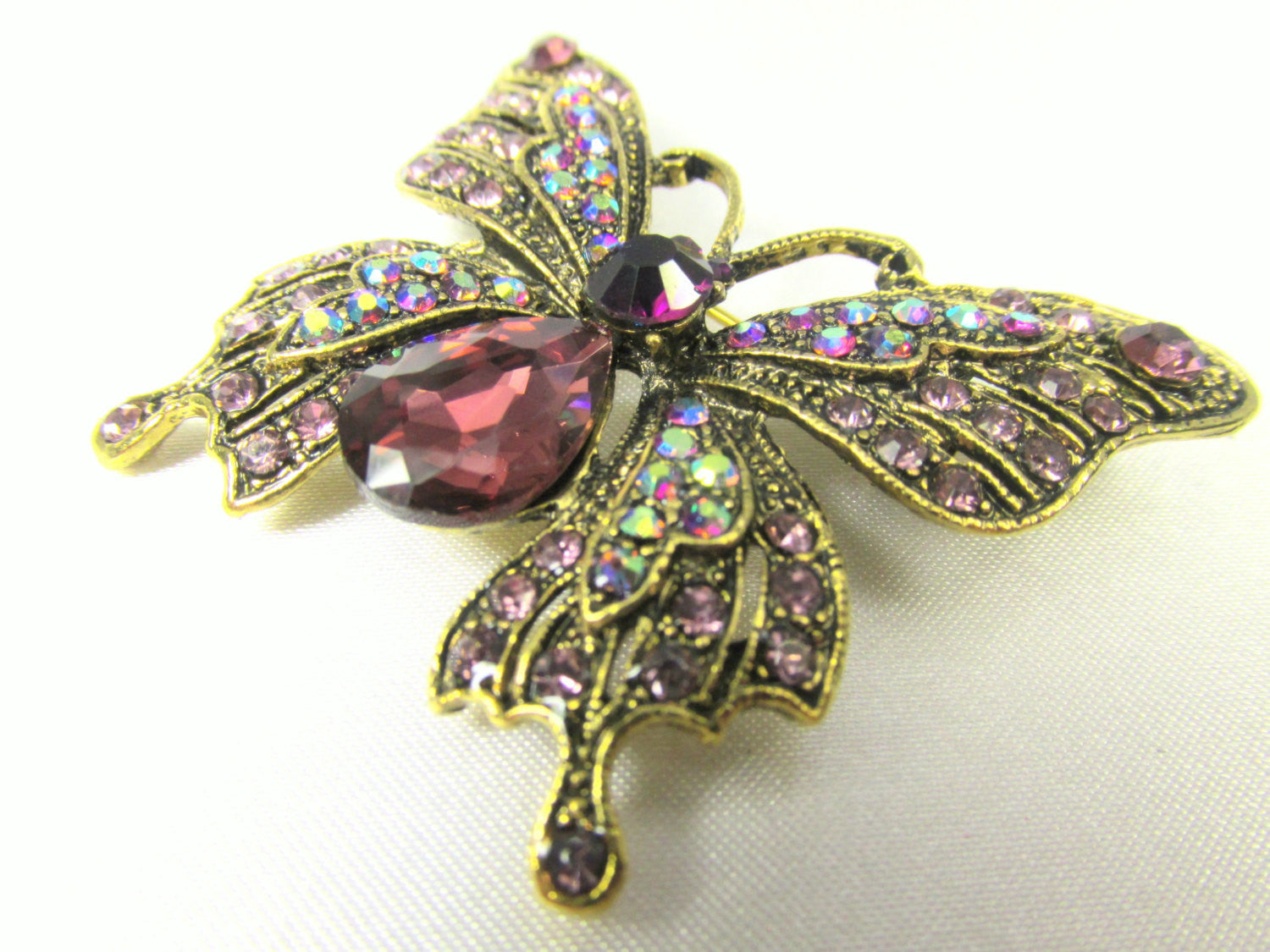 Butterfly Brooch in Purple Amethyst, Crystal AB and Antique Gold - Odyssey Creations