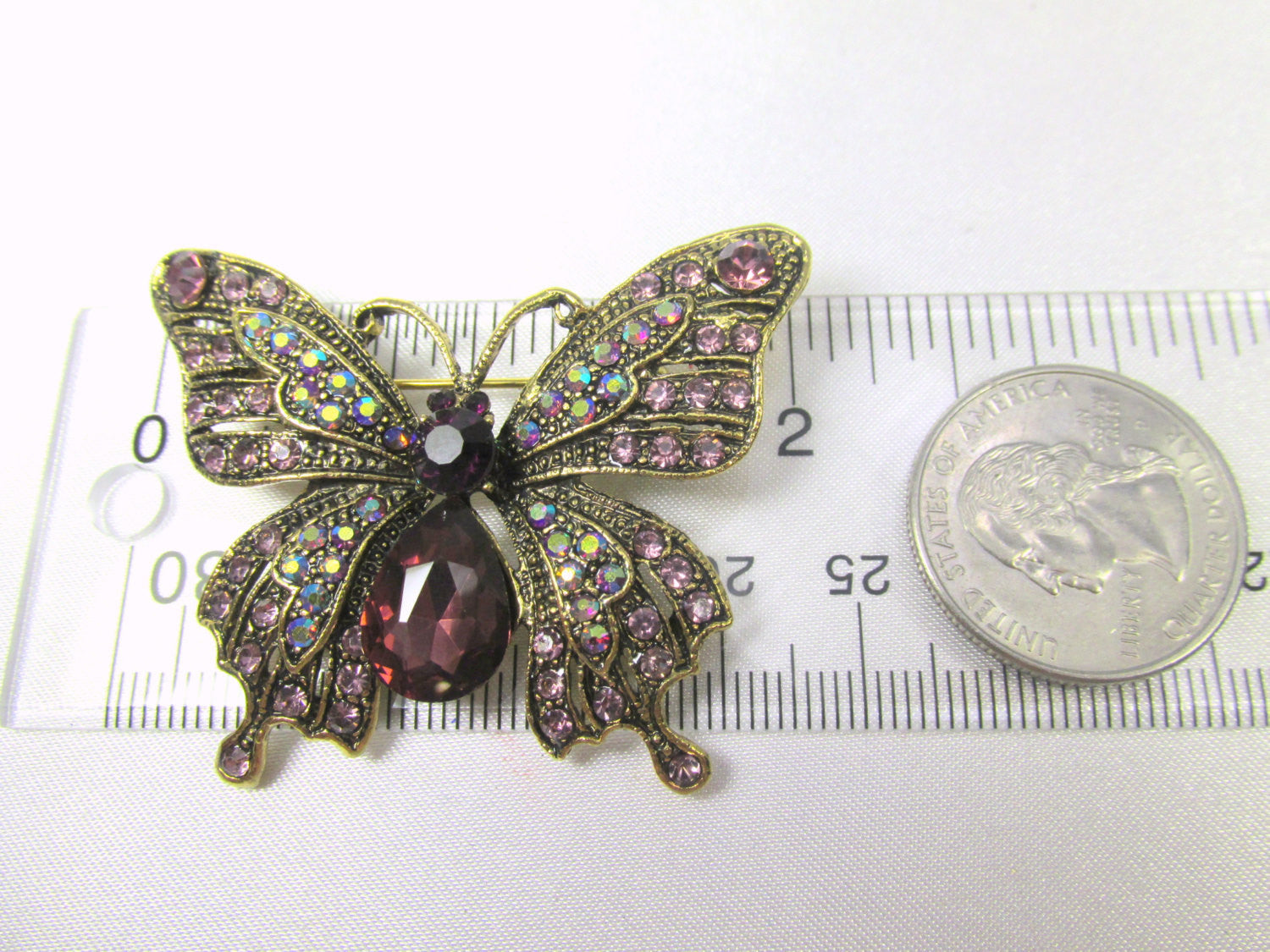 Butterfly Brooch in Purple Amethyst, Crystal AB and Antique Gold - Odyssey Cache - 4