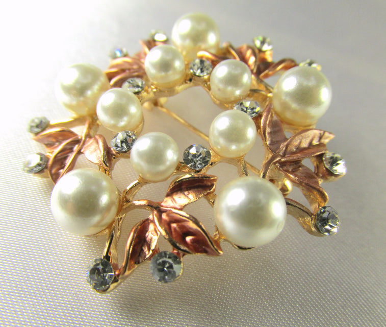 Rose Gold, White Pearl and Clear Crystal Flower Brooch - Odyssey Cache - 1