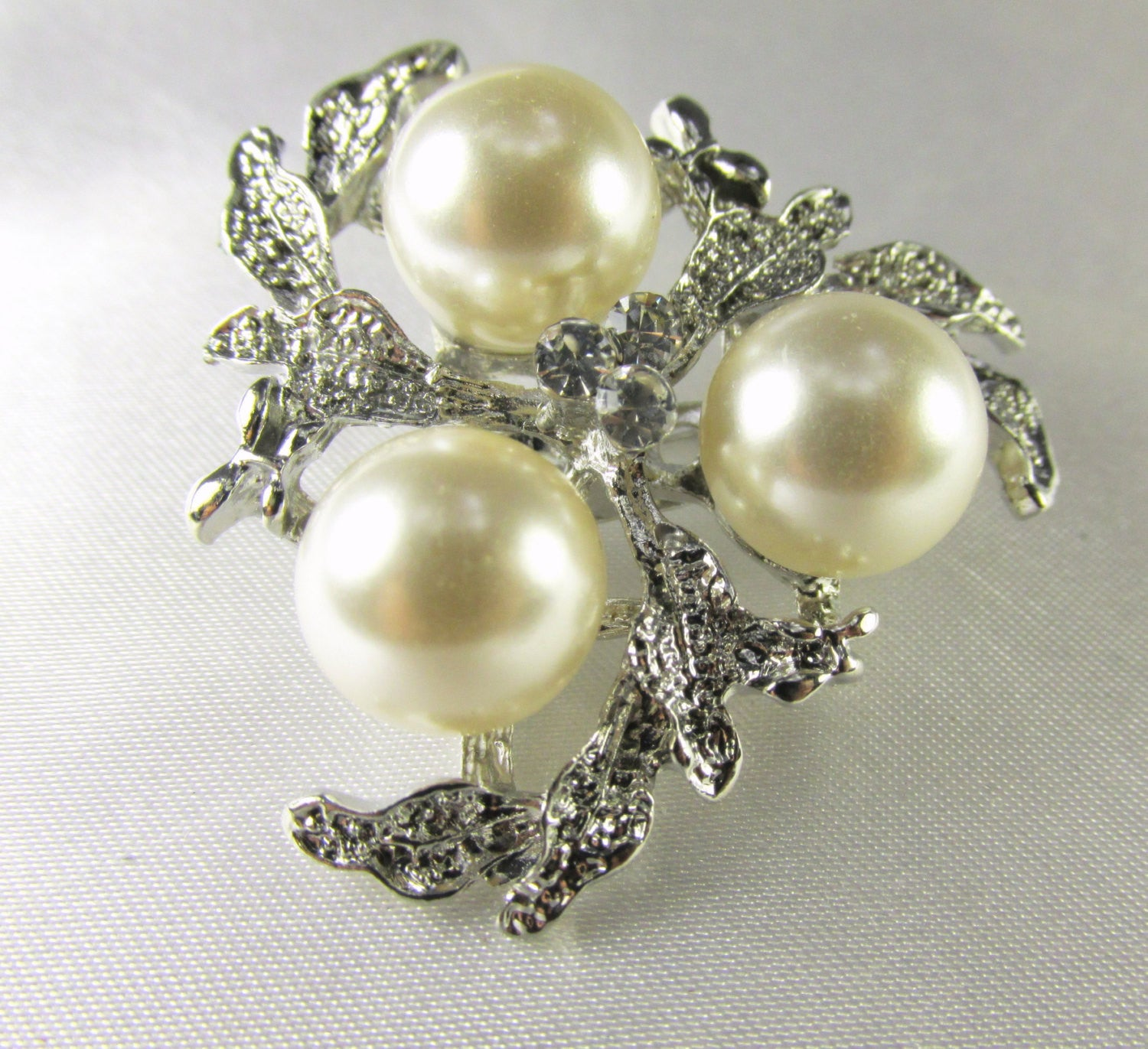Silver Leaf and Cream Pearl Cluster 1.5 Inch Brooch - Odyssey Creations