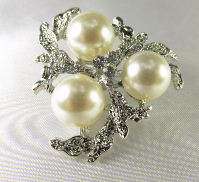 Silver Leaf and Cream Pearl Cluster 1.5 Inch Brooch - Odyssey Cache - 1