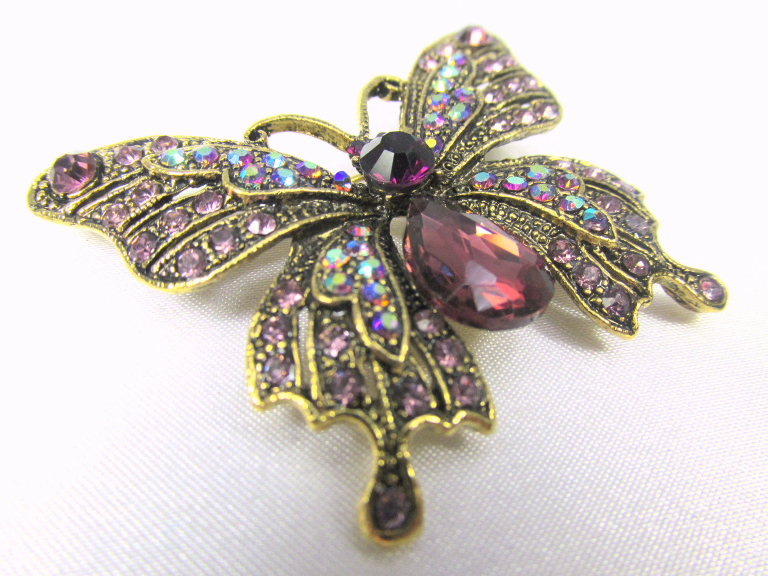Butterfly Brooch in Purple Amethyst, Crystal AB and Antique Gold - Odyssey Cache - 2