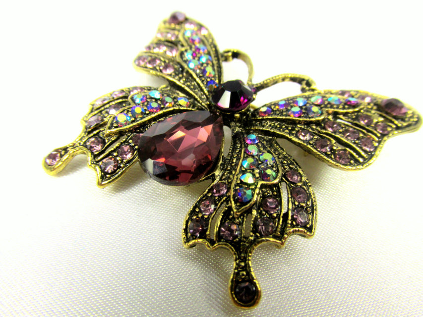 Butterfly Brooch in Purple Amethyst, Crystal AB and Antique Gold - Odyssey Cache - 1