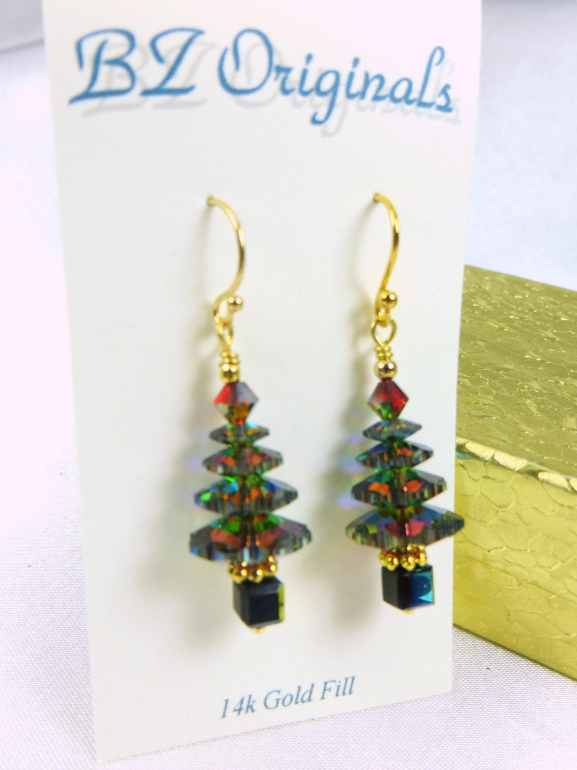 Christmas Tree Earrings in Swarovski Vitrail Medium on 14k Gold Fill Wires - Odyssey Creations