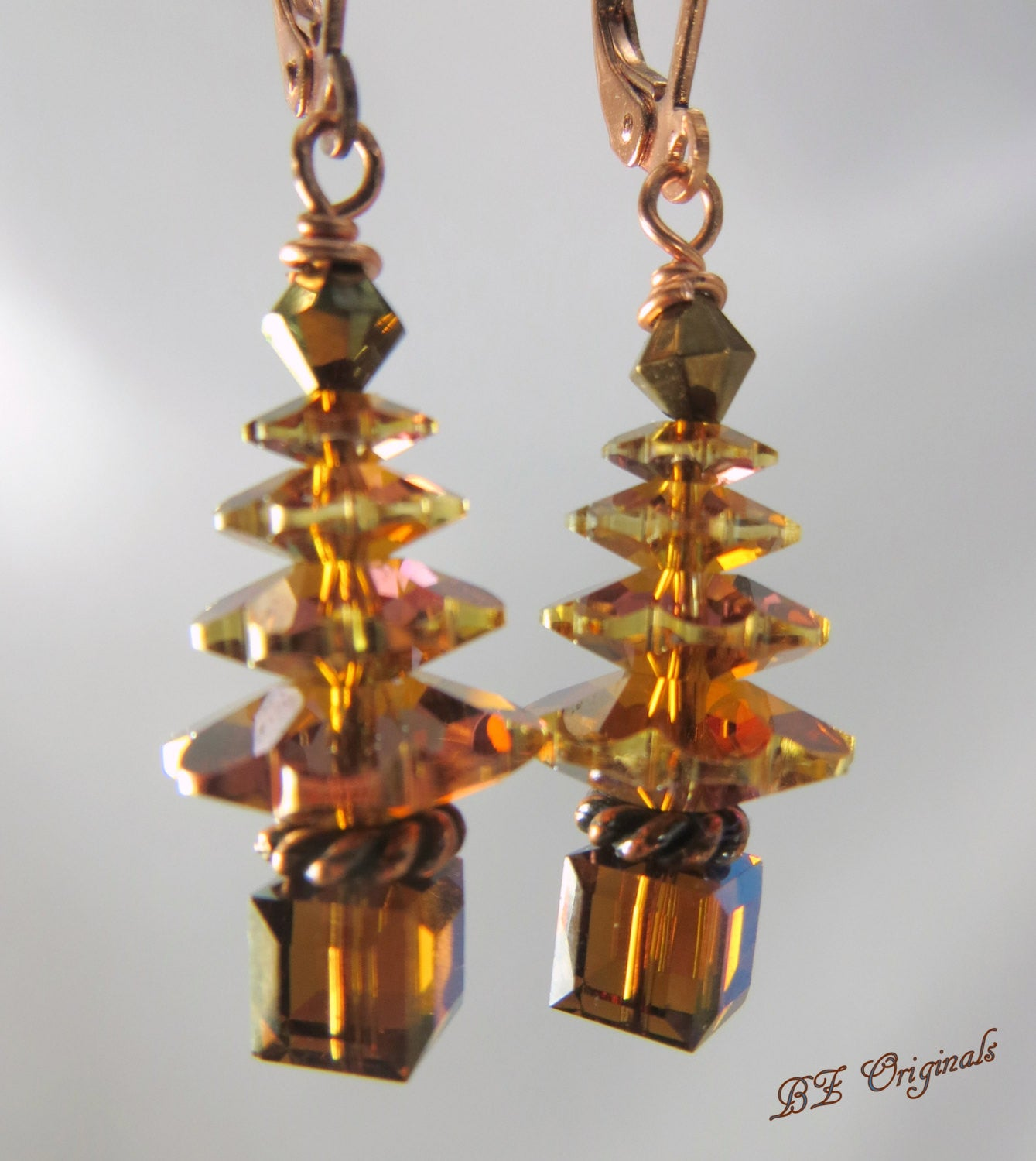 Christmas Tree Earrings in Swarovski Crystal Copper on Copper Wires - Odyssey Creations