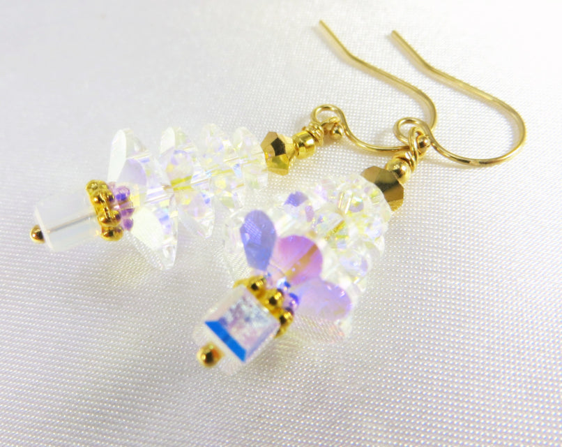 Christmas Tree Earrings in Swarovski Crystal AB on 14k gold fill wires - Odyssey Creations