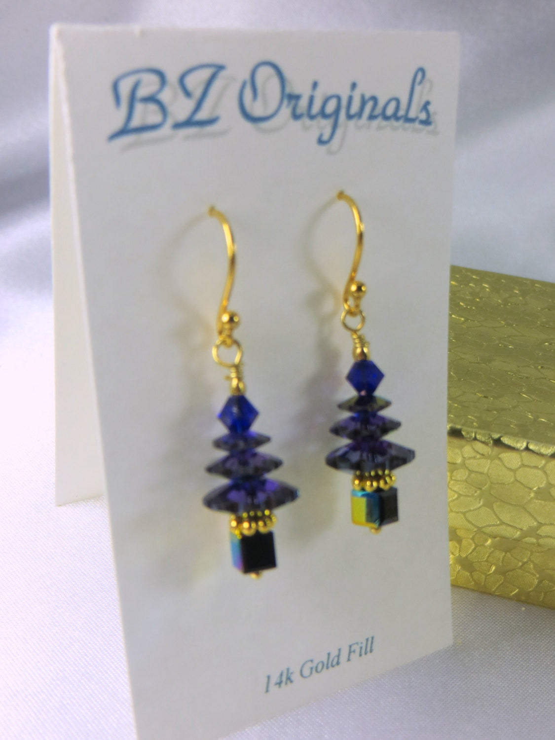 Small Christmas Tree Earrings in Swarovski Heliotrope Blue and Purple on 14k gold fill wires - Odyssey Creations