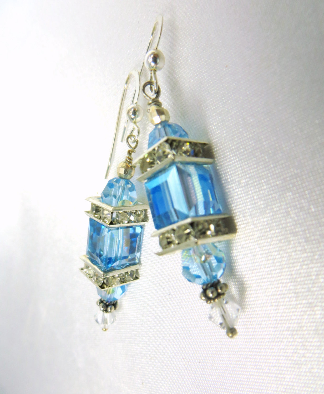 Sky Blue Aquamarine AB aurora borealis Swarovski Cube Lantern Earrings on Sterling Silver - Odyssey Creations