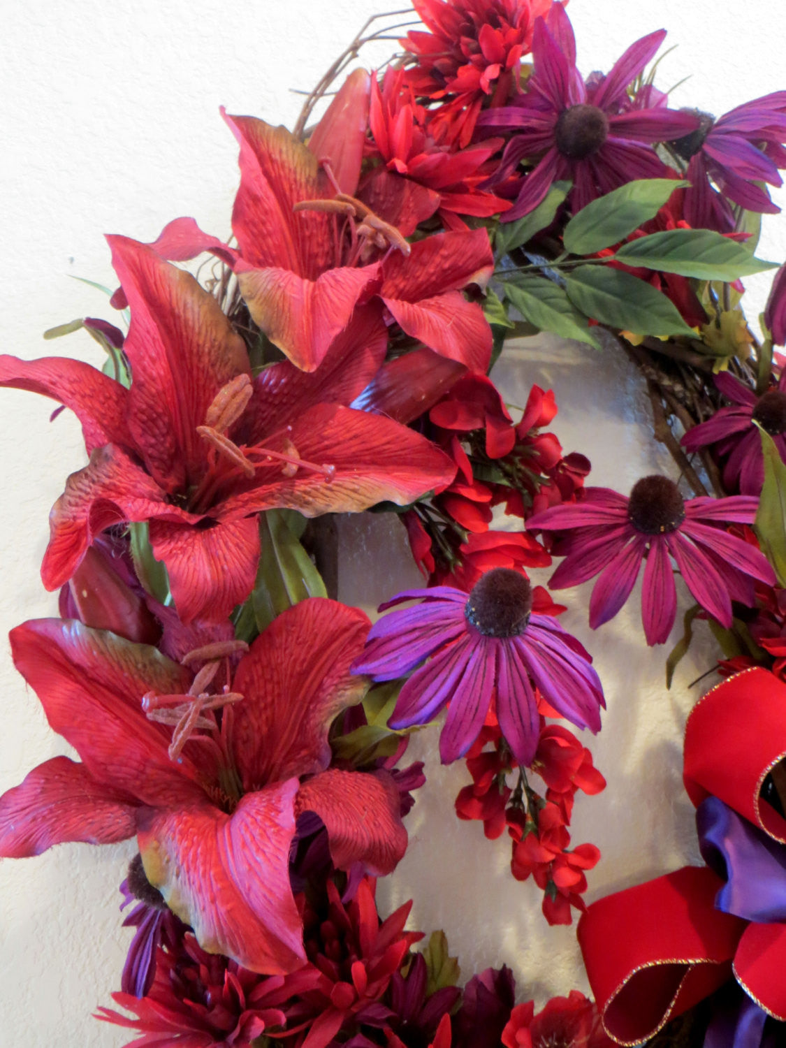 Autumn or Christmas Long Oval Door or Wall Wreath in Red and Purple with elegant Victorian beaded fringe & trim offset bow ready to ship - Odyssey Creations