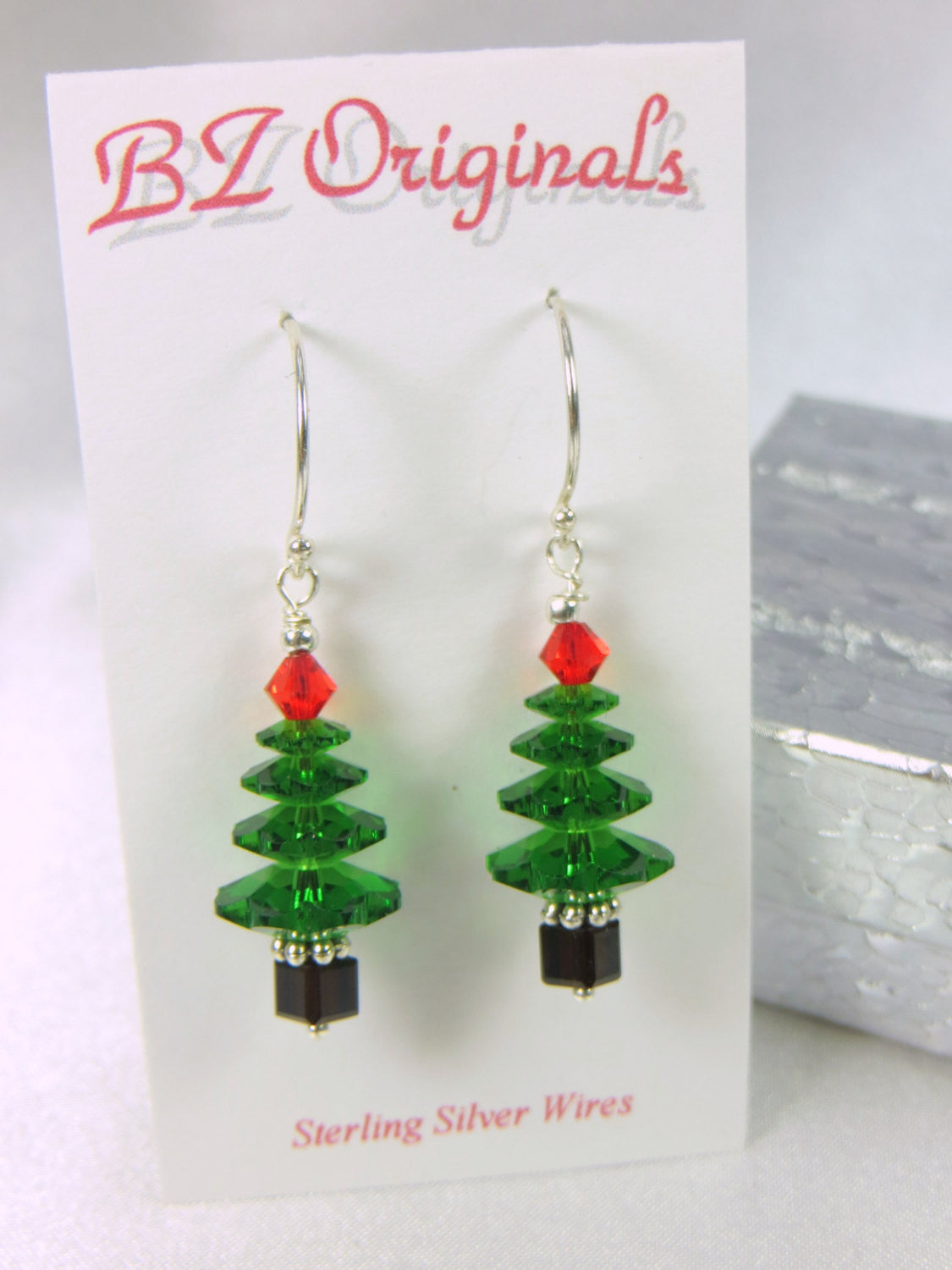 Christmas Tree Earrings in Swarovski Fern Green on Sterling Silver Wires - Odyssey Creations