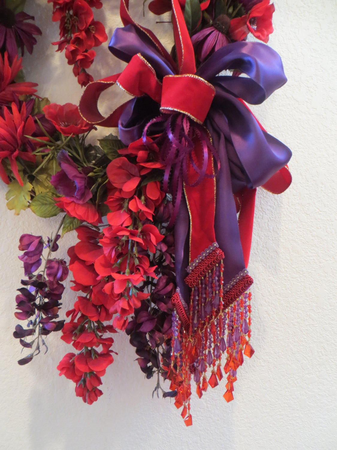 Beaded Victorian Red and Purple Long Oval Door Swag or Wall Wreath - Odyssey Creations