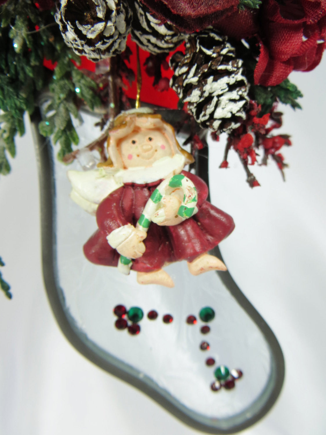Christmas Angel Stocking Suncatcher or Ornament in Red and Green Stained Glass and Swarovski Crystals - Odyssey Creations
