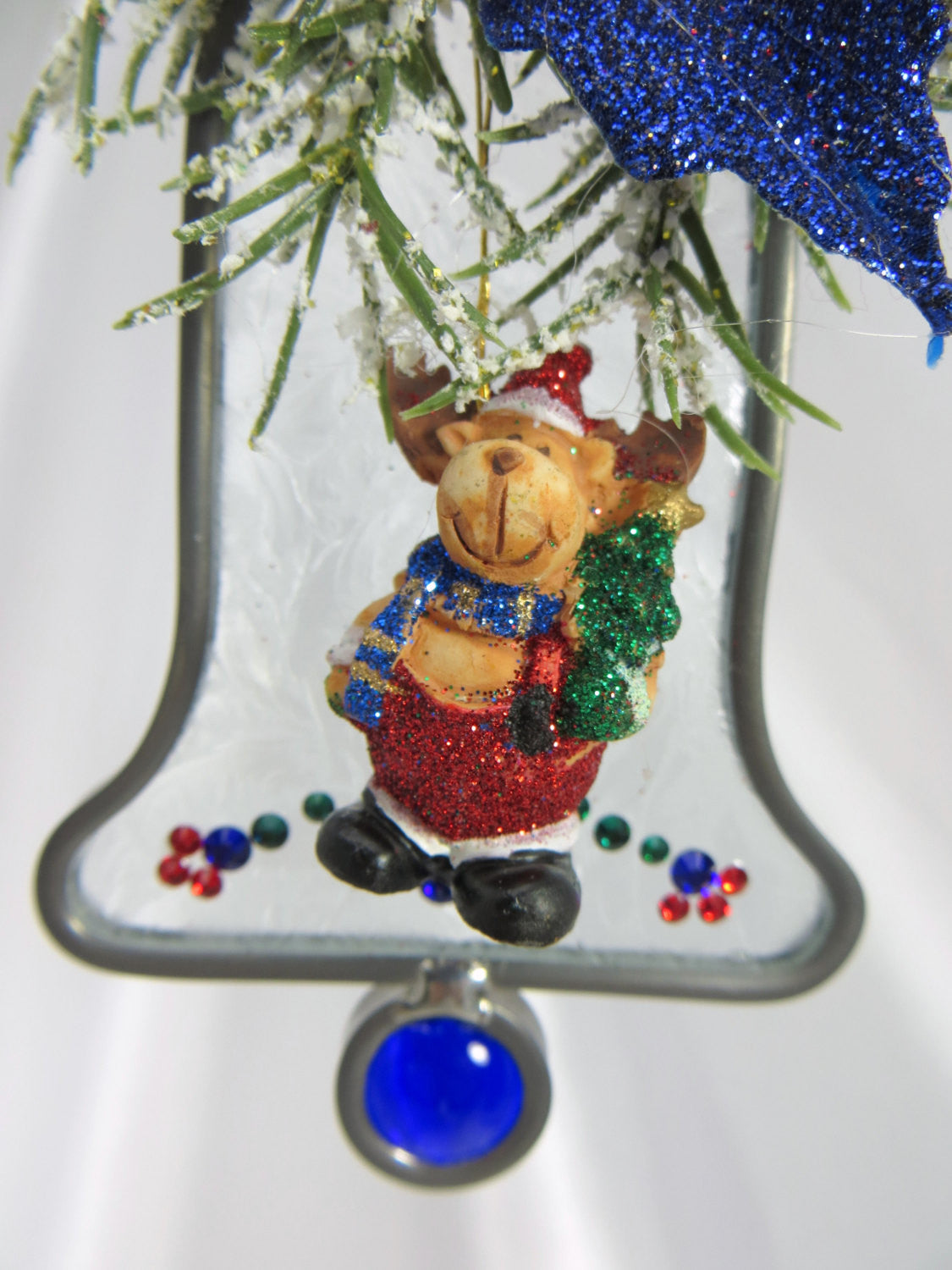 Chris Moose on the Loose Stained Glass and Swarovski Bell Suncatcher or Ornament - Odyssey Creations