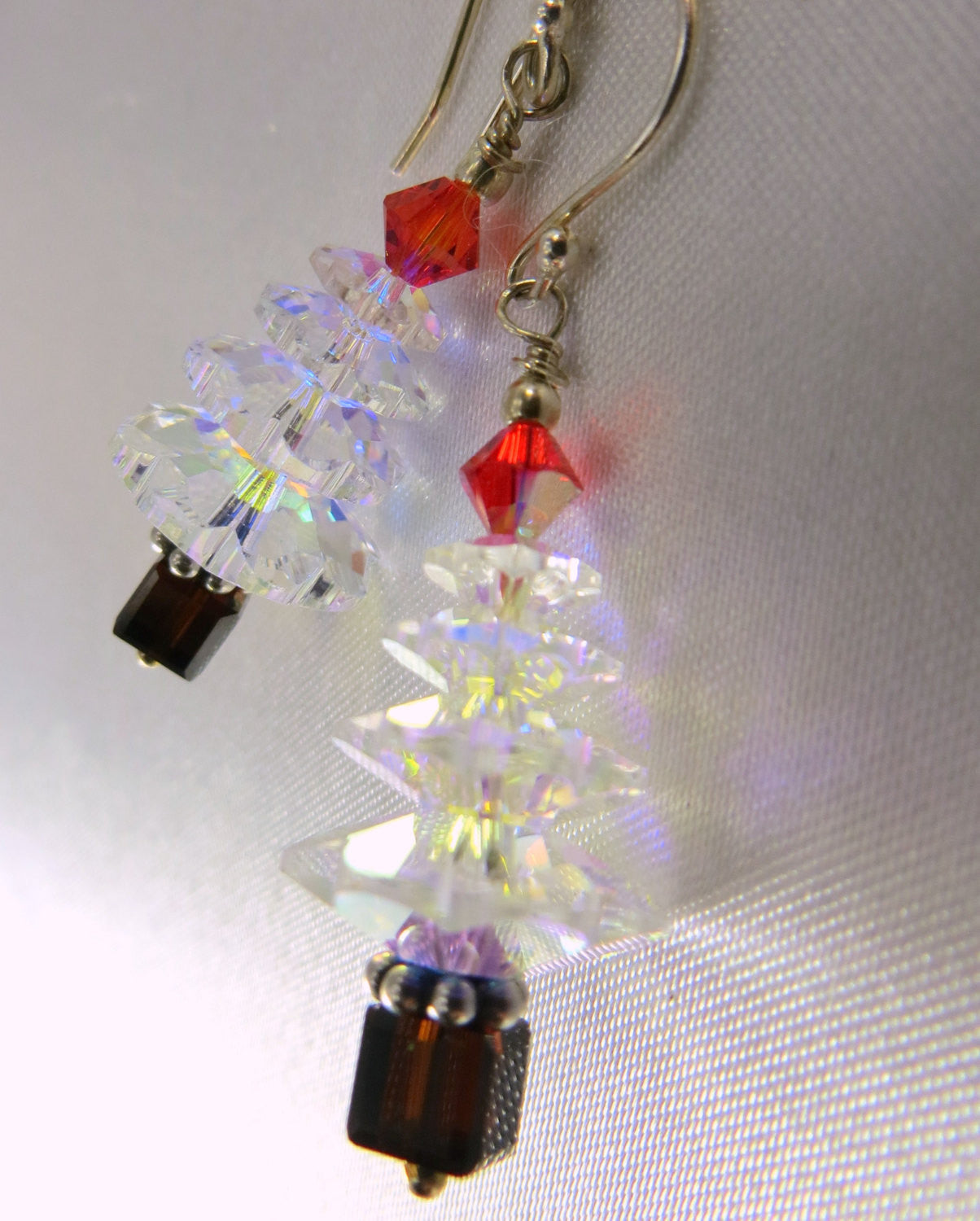 Christmas Tree Earrings in Swarovski Crystal AB, Red and Black on Sterling Silver Wires - Odyssey Creations