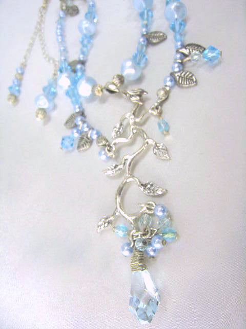 Light Blue Swarovski Pearls and Crystal Necklace and Earring Set on Sterling Silver Chain - Odyssey Creations