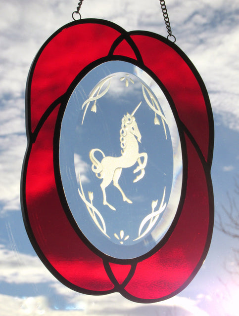 Red Unicorn Stained Glass Sand Blasted Oval Suncatcher - Odyssey Creations