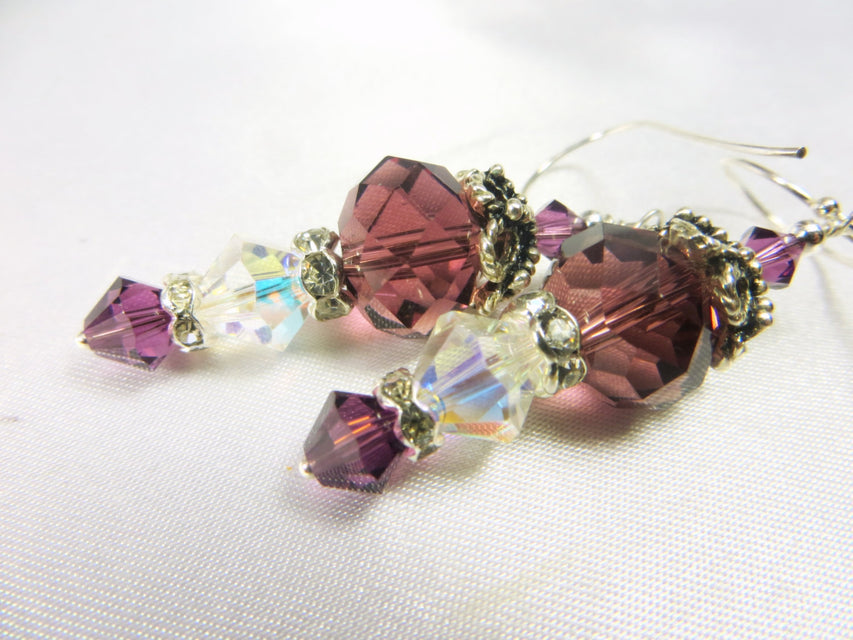 Plum Crystal and Crystal AB Earrings on Sterling Silver wires - Odyssey Creations