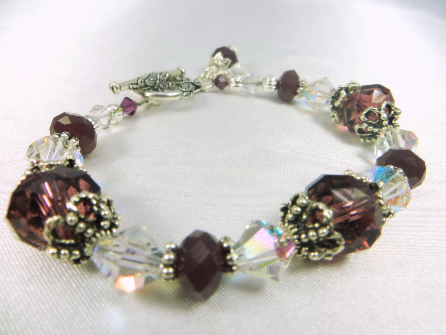 Plum Purple Crystal AB Bracelet with Silver Butterfly Toggle Clasp - Odyssey Creations