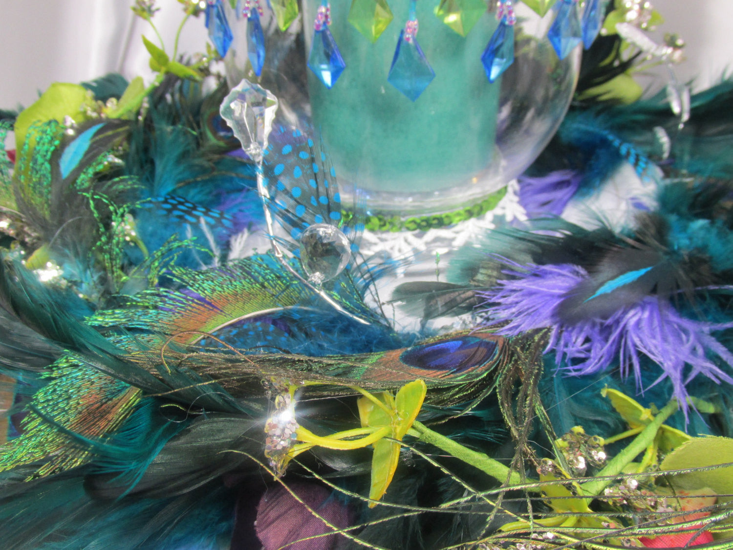 Peacock Wreath and Hurricane Candle Holder Centerpiece Set - Odyssey Creations