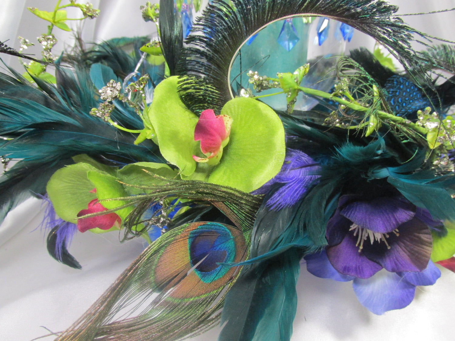 Peacock  Medium Wreath and Hurricane Candle Holder for home decor or Wedding Centerpieces - Odyssey Creations