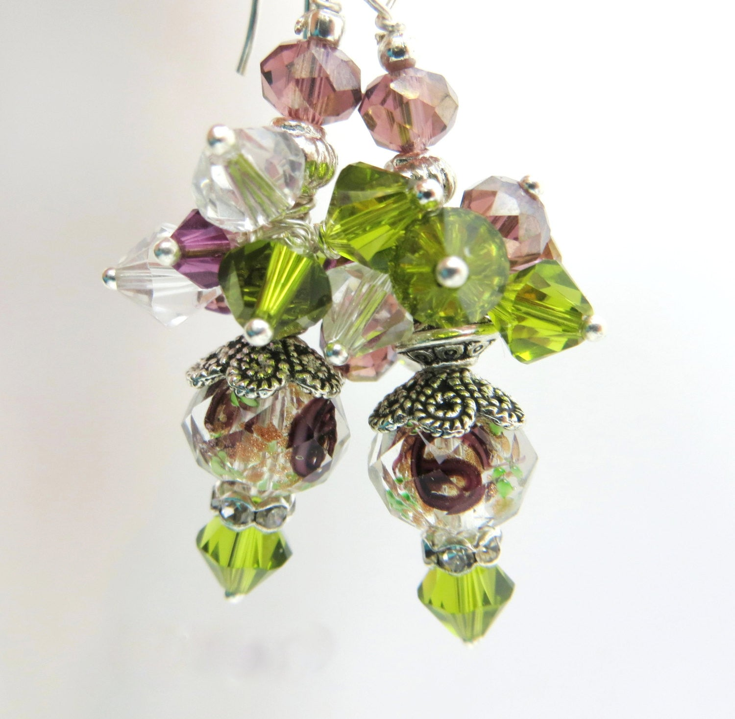 Olive Green and Amethyst Purple Swarovski Crystal and Lampwork Glass Beaded Dangle Earrings - Odyssey Creations