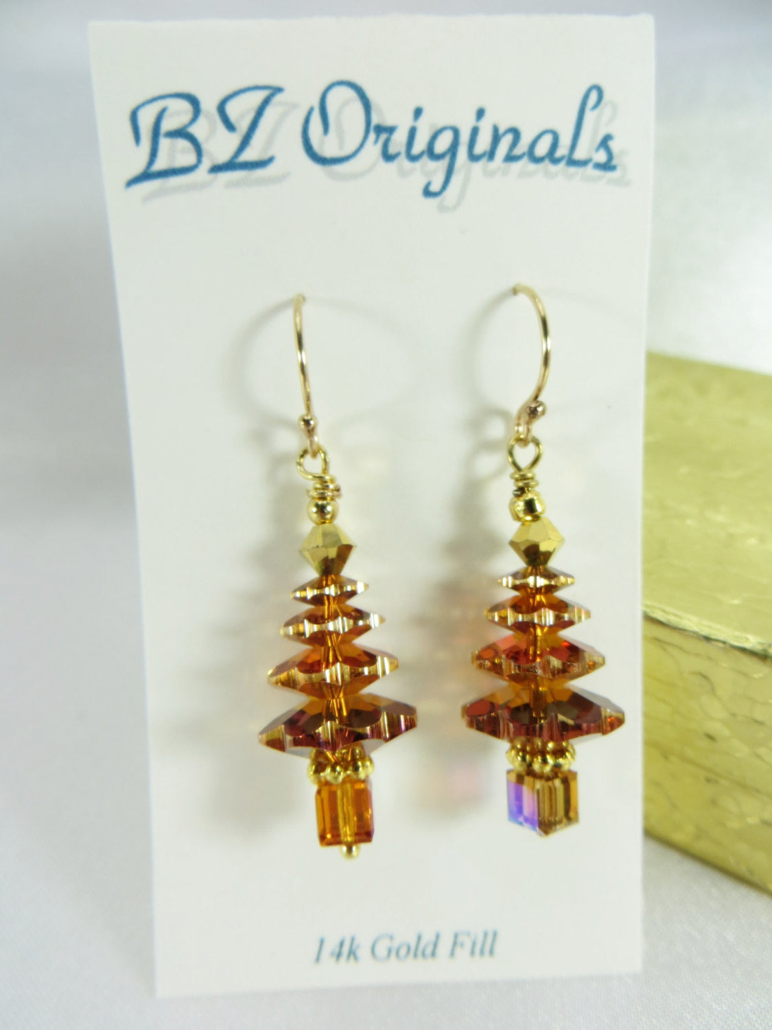 Rust Christmas Tree Earrings in Swarovski Crystal Copper on 14k gold fill - Odyssey Creations