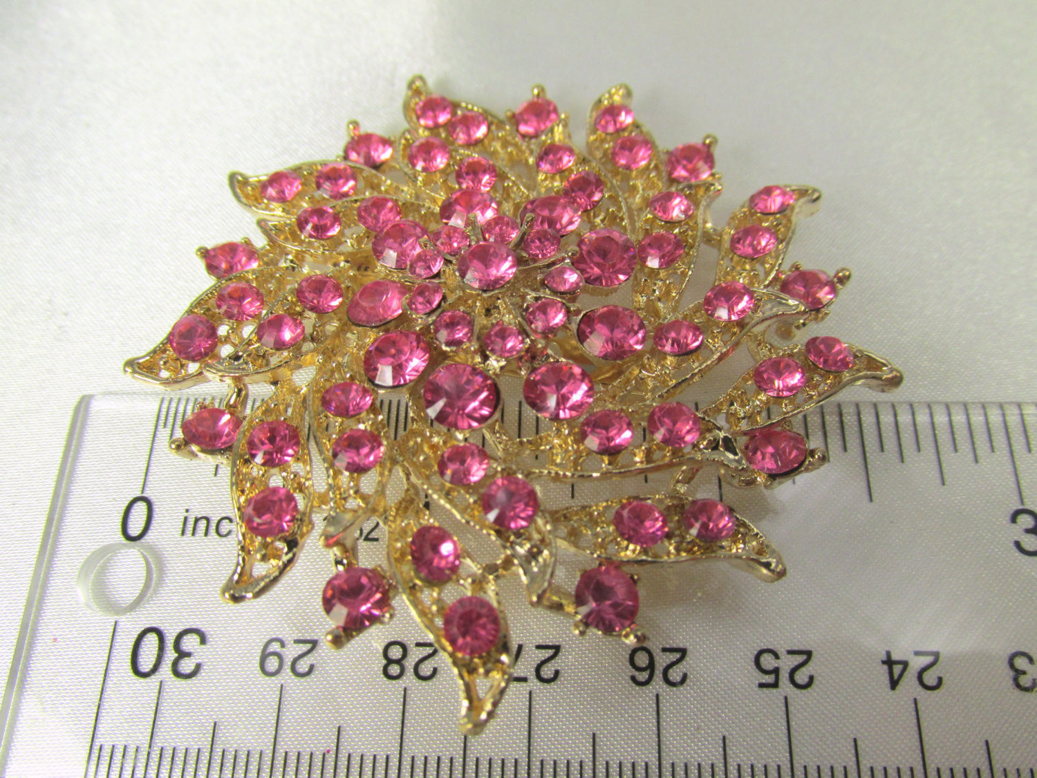 Pink and Gold 2.75 Inch Flower Brooch - Odyssey Cache - 2