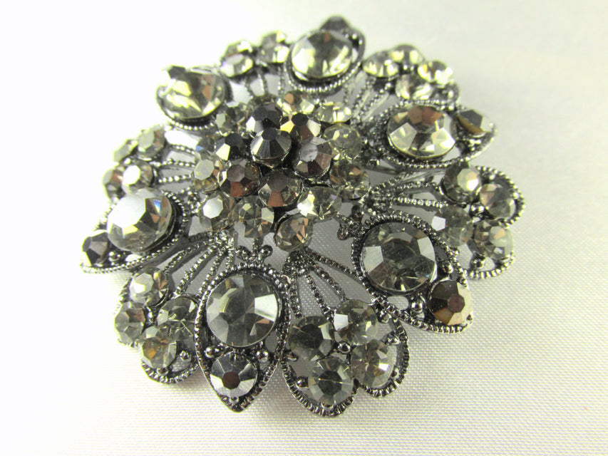 Large Vintage Styled Gray, Black Gunmetal Flower Brooch - Odyssey Cache - 1