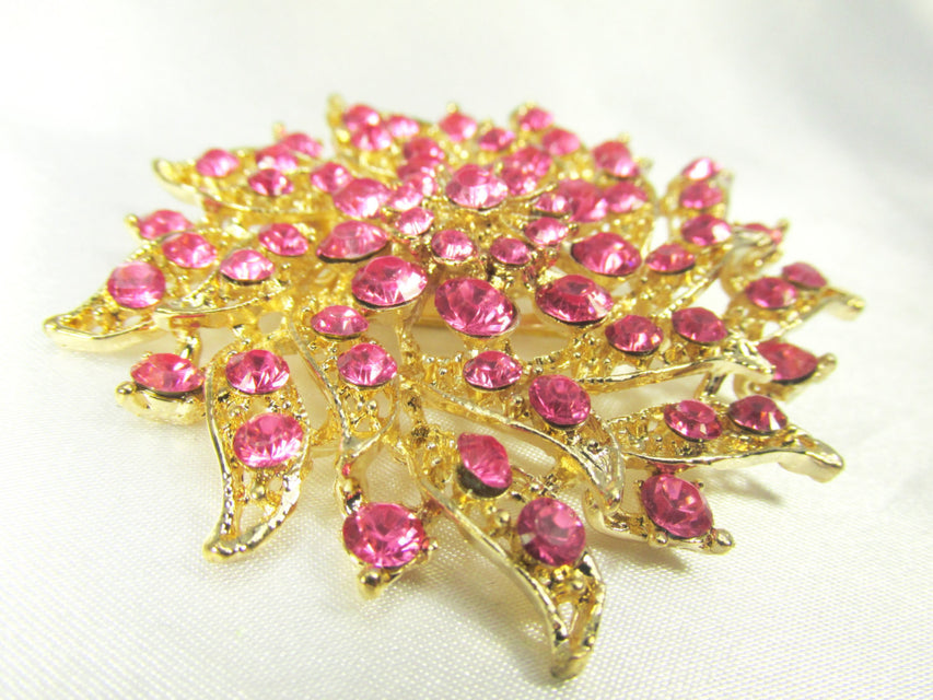 Pink and Gold 2.75 Inch Flower Brooch - Odyssey Cache - 1