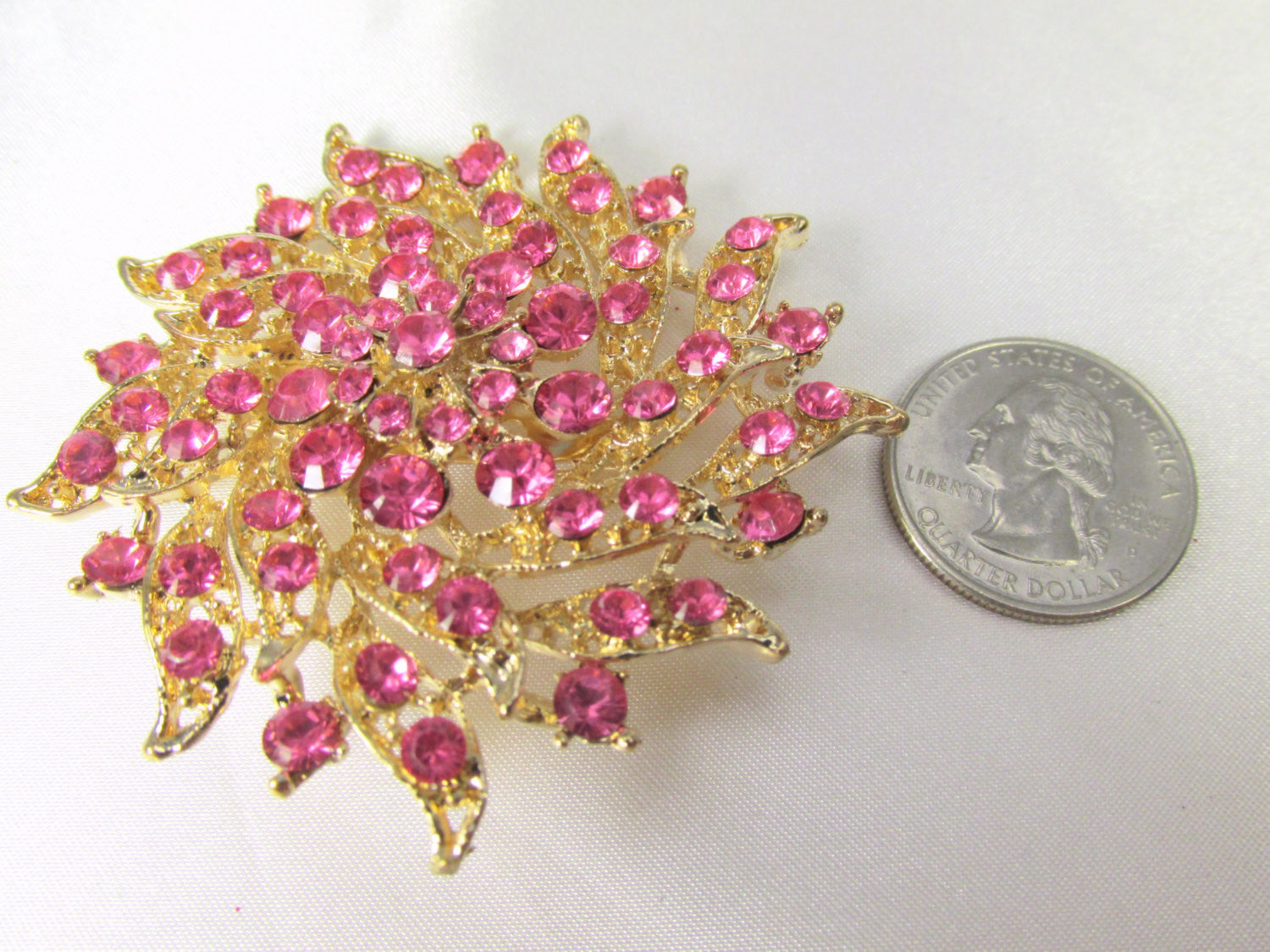 Pink and Gold 2.75 Inch Flower Brooch - Odyssey Cache - 3
