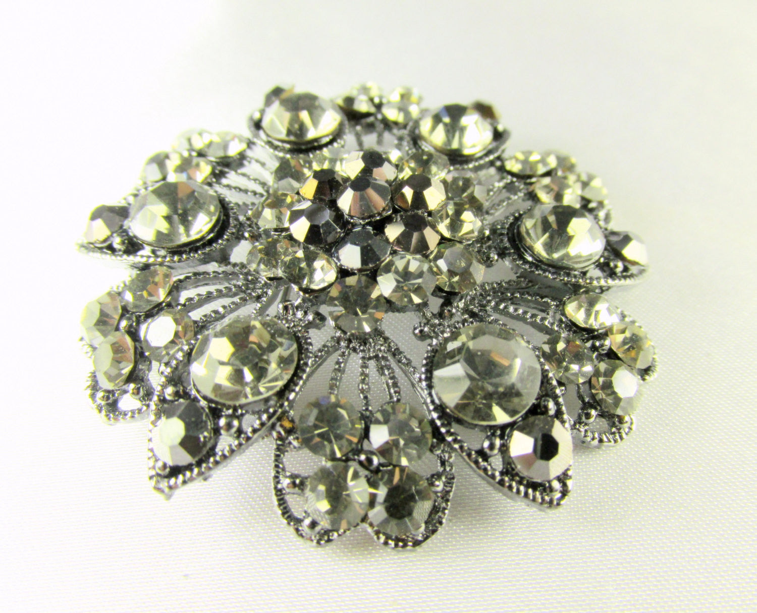 Large Vintage Styled Gray, Black Gunmetal Flower Brooch - Odyssey Creations