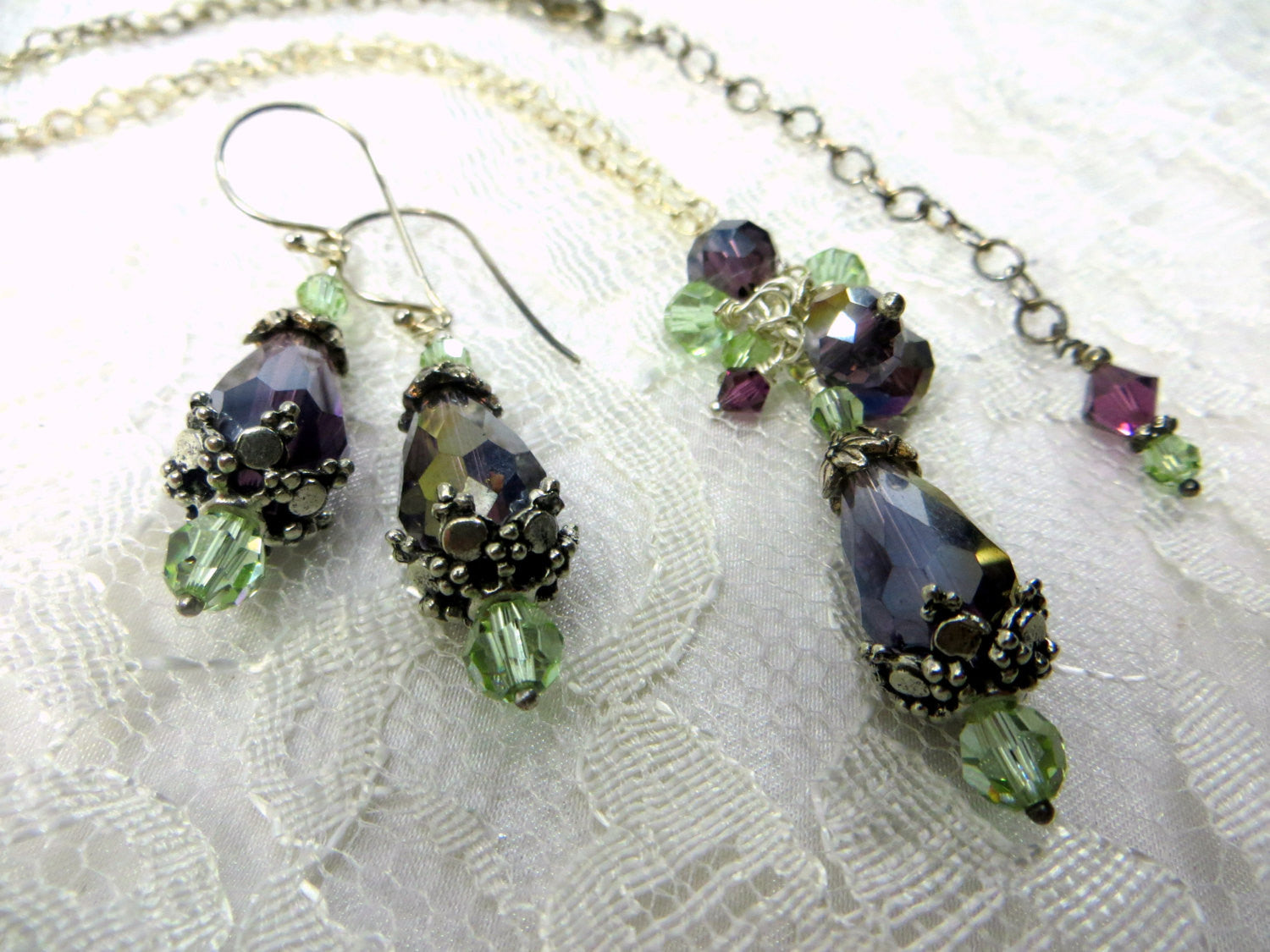 Color Changing Necklace Earring Set in Purple Amethyst and Swarovski Mint Green Cantaloupe - Odyssey Creations