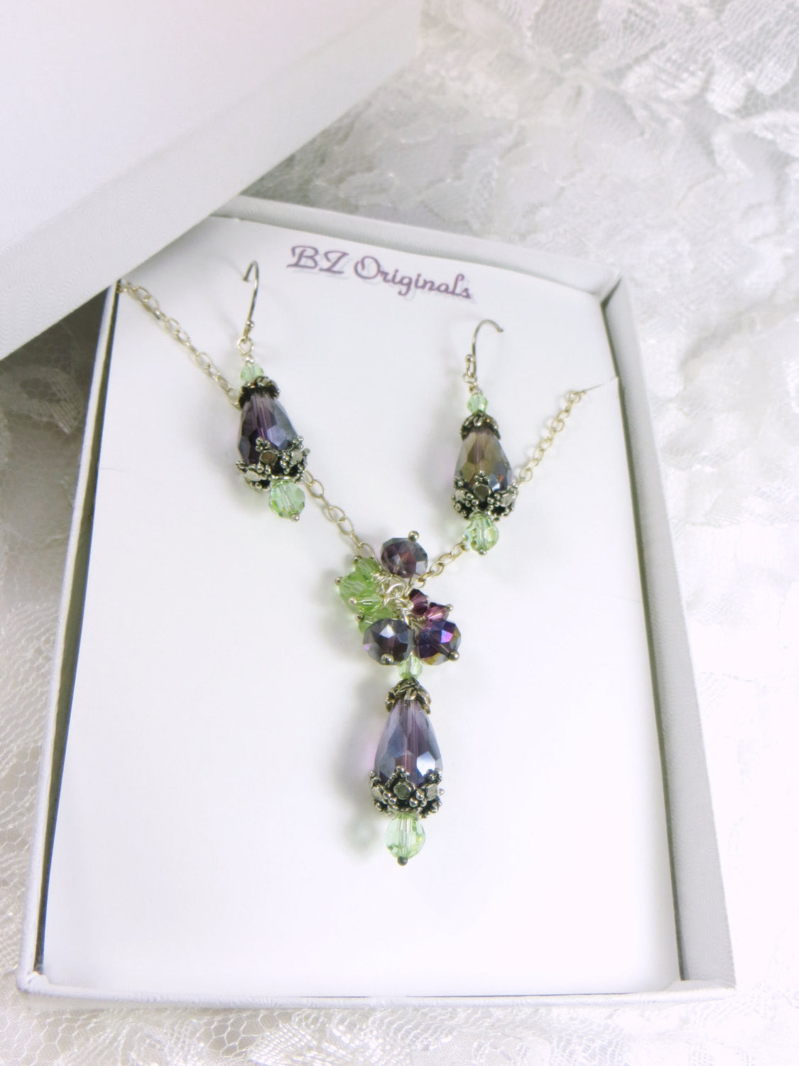 COLOR CHANGING Bridal or Bridesmaid Necklace Earring Set in Purple Amethyst and Swarovski Mint Green Cantaloupe changing to Lavender Rose - Odyssey Creations