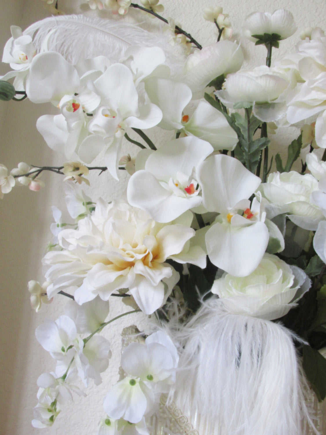 Ivory Wedding Floral Arrangement or Tall Centerpiece with Victorian Pearl Beaded and Jeweled Accents - Odyssey Creations