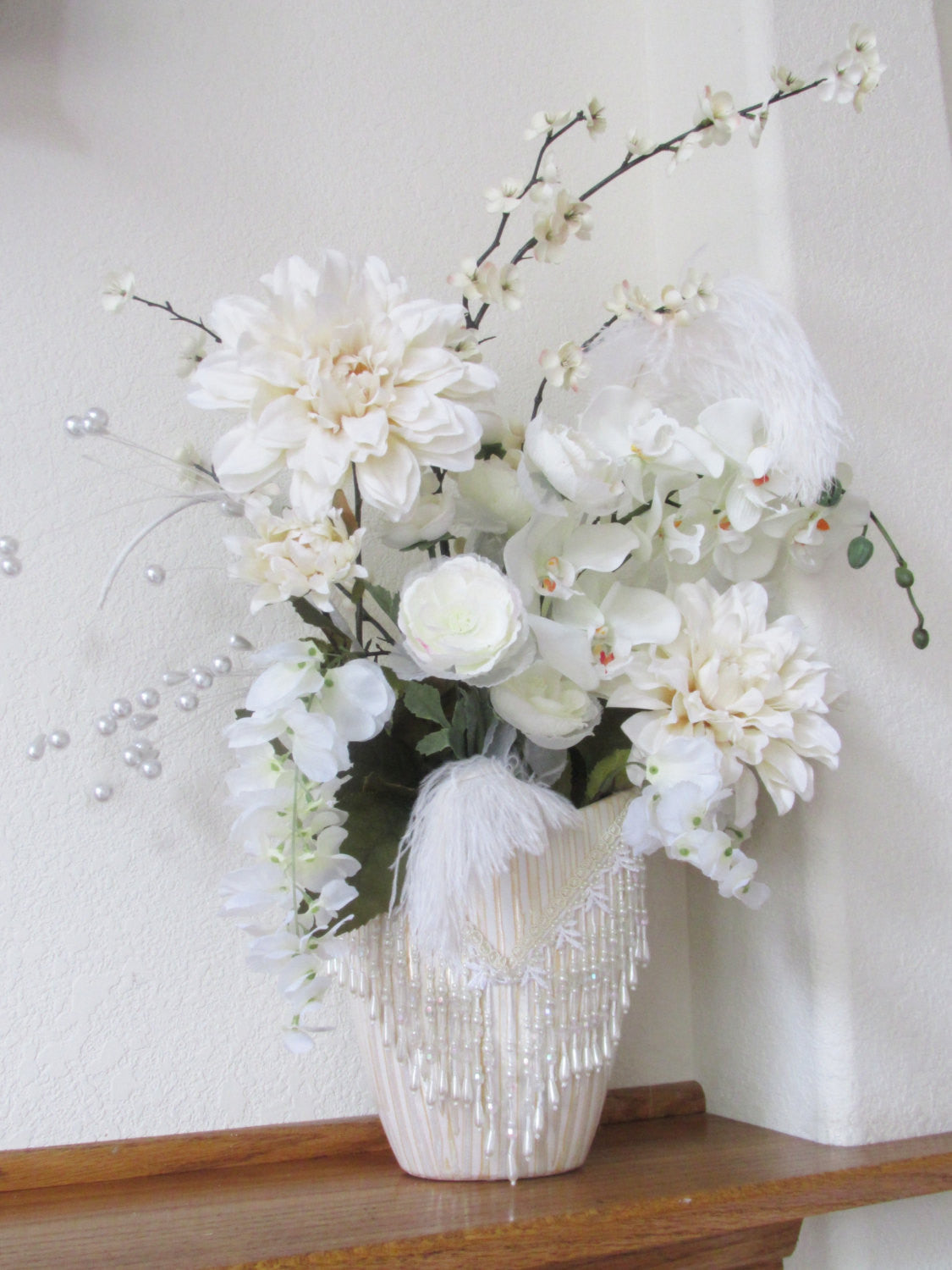 Ivory Wedding Floral Arrangements or Tall Centerpieces with Victorian Pearl Beaded and Jeweled Accents - Matching Set or Individually Sold - Odyssey Creations