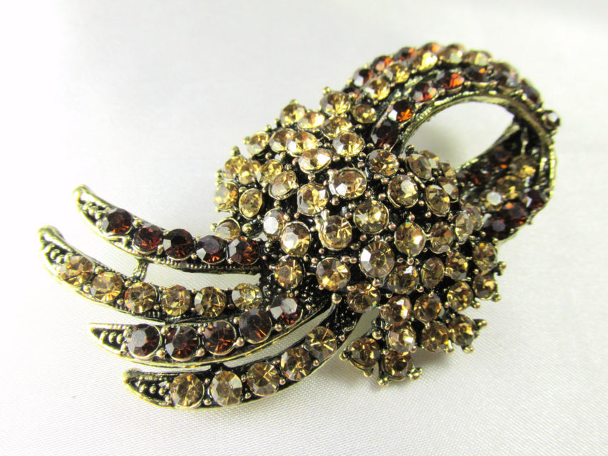 Brown and Gold Topaz Vintage Style Brooch - Odyssey Creations