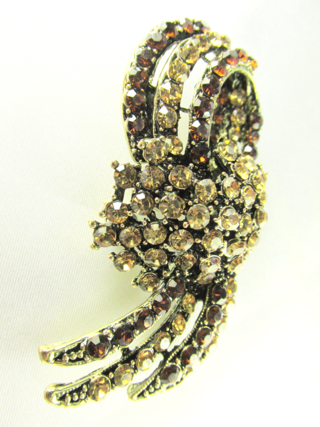Brown and Gold Topaz Vintage Style Brooch - Odyssey Cache
