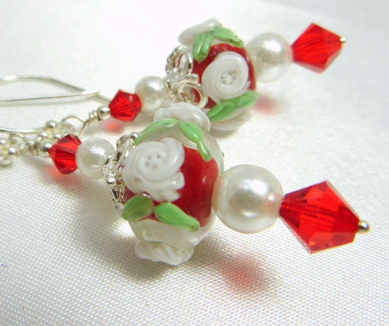 Red and White Gracebeads Lampwork Rondelles with Swarovski, Pearls and fine Sterling Silver - matching necklace available - Odyssey Creations