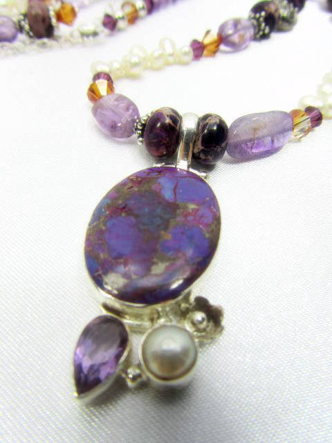 Necklace and Earring Set in Purple Jasper, Amethyst and Copper Turquoise with Freshwater Pearls - Odyssey Creations