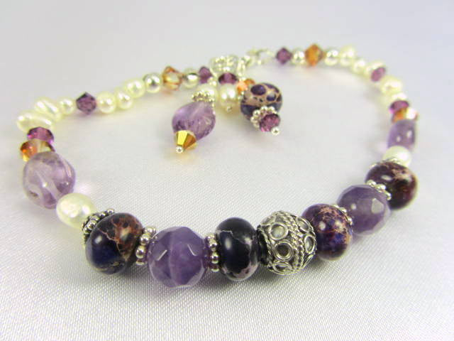 Purple Amethyst Gemstones, Freshwater Pearls, Purple Jasper and Bali Sterling Silver Bracelet - Odyssey Creations